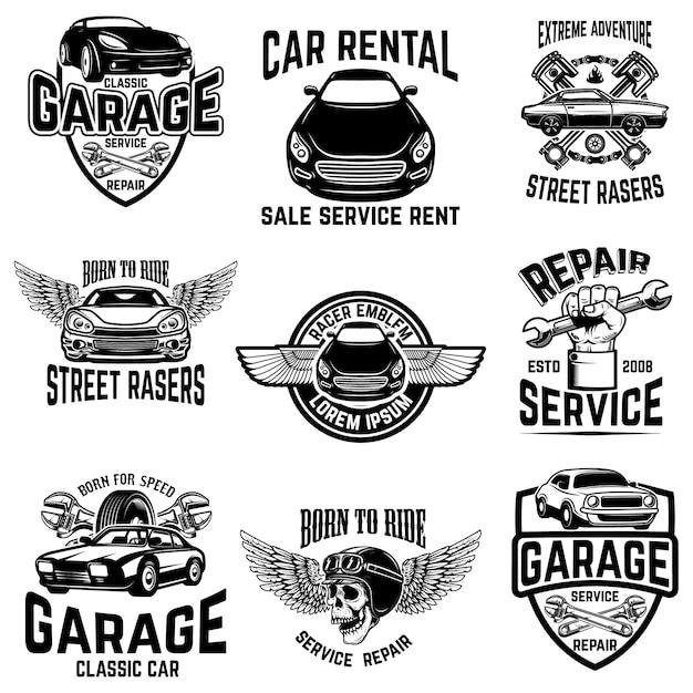 Naprawa Samochodów, Garaż, Emblematy Serwisu Samochodowego. Elementy Logo, Etykiety, Znak. Wizerunek Premium Wektorów