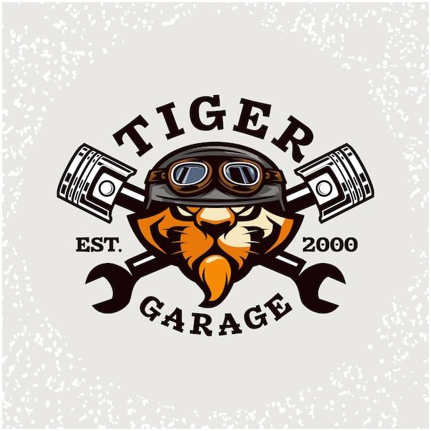 Naprawa Samochodów Głowy Tygrysa I Niestandardowe Logo Garażu. Premium Wektorów