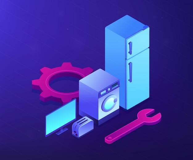 Naprawa Urządzeń Gospodarstwa Domowego Pojęcia Isometric Ilustracja. Premium Wektorów