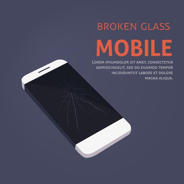 Naprawa Uszkodzonego Ekranu Telefonu Premium Wektorów
