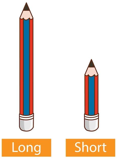 Naprzeciwko Przymiotnikowe Słowa Z Długim Ołówkiem I Krótkim Ołówkiem Na Białym Tle Darmowych Wektorów