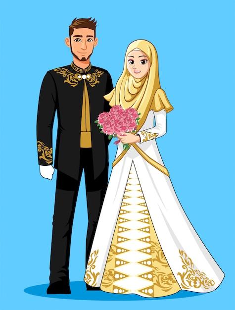 Narodowa panna młoda nosi czarne, białe i złote garnitury. Premium Wektorów