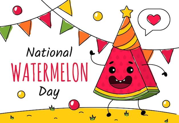Narodowy Dzień Arbuza 3 Sierpnia Premium Wektorów