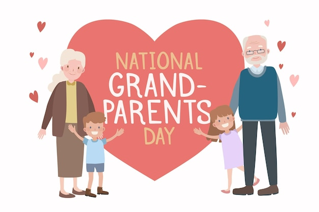 Narodowy Dzień Babci I Dziadka Z Wnukami Darmowych Wektorów
