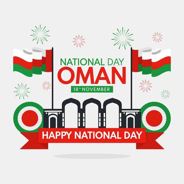 Narodowy Dzień Omanu Ilustracja Z Fajerwerkami I Flagami Darmowych Wektorów
