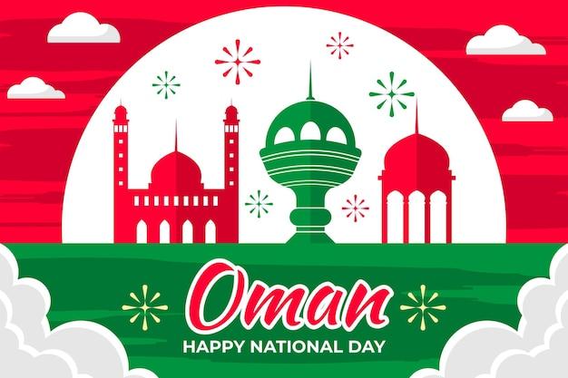 Narodowy Dzień Omanu Ilustracji Z Fajerwerkami I Zabytkami Darmowych Wektorów