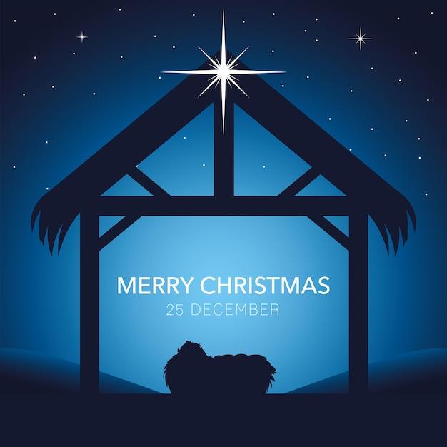 Narodzenia, Wesołych świąt Dzieciątko Jezus W żłobie Premium Wektorów