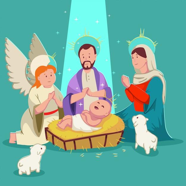 Narodziny Dziecka Jezus Boże Narodzenie Szopka Bożonarodzeniowa. Wektorowa śliczna Kreskówki Ilustracja Premium Wektorów