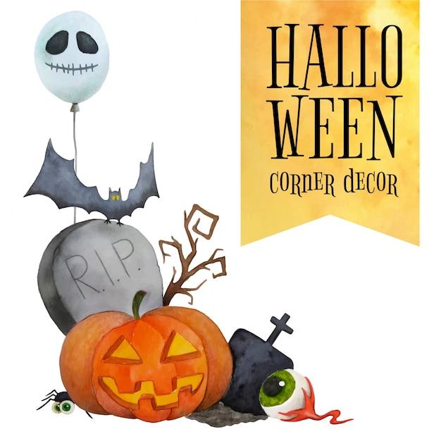 Narożnik halloween na karty i plakaty Premium Wektorów