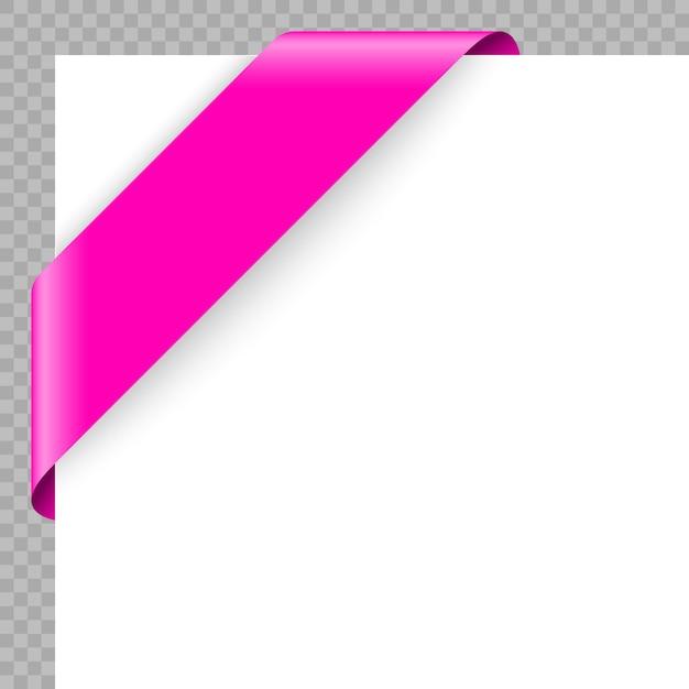 Narożnik wstążka lub baner na białym tle. Premium Wektorów