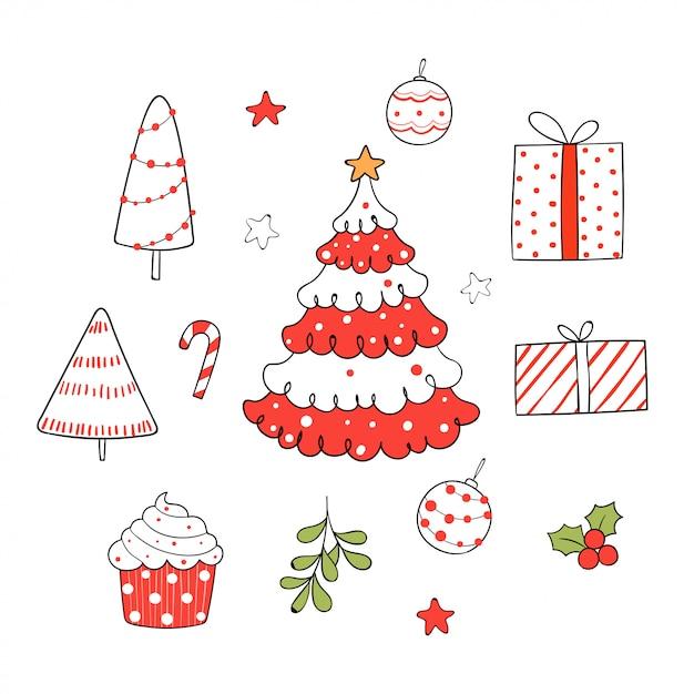 Narysuj Elementy świąteczne Na Białym Tle. Premium Wektorów