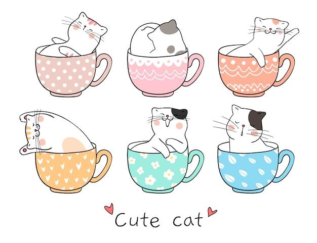 Narysuj ładny kot śpi w filiżance herbaty Premium Wektorów
