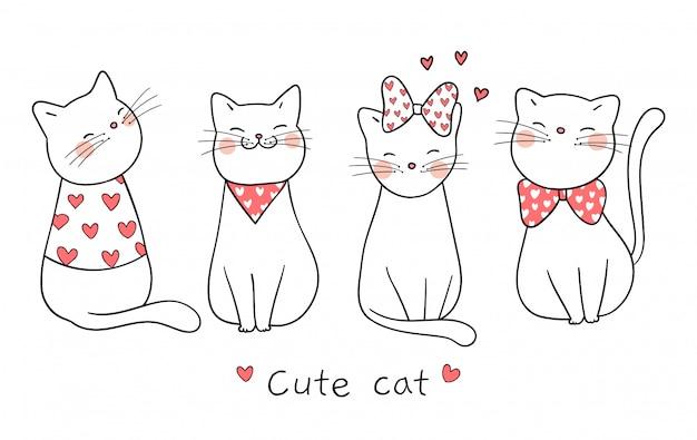 Narysuj ładny kot z małym sercem na walentynki Premium Wektorów