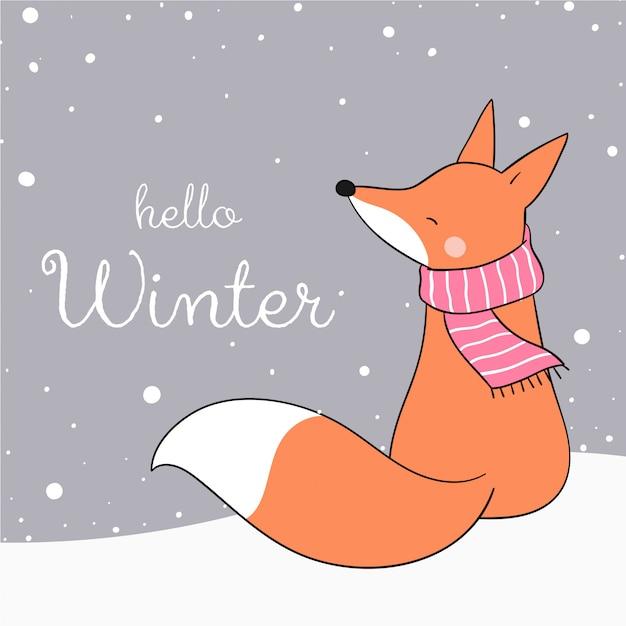 Narysuj Lisa Siedzącego W śniegu Na Boże Narodzenie. Premium Wektorów