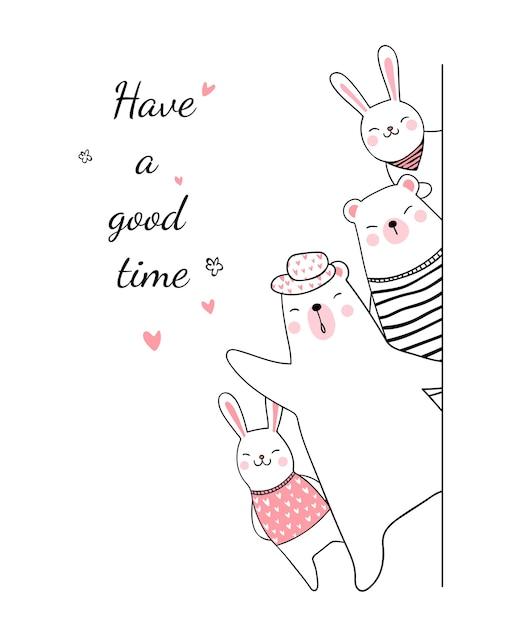 Narysuj niedźwiedzia i królika, powiedz mi, dobrze się baw Premium Wektorów