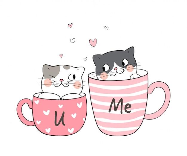 Narysuj parę miłości kota w filiżance herbaty. Premium Wektorów
