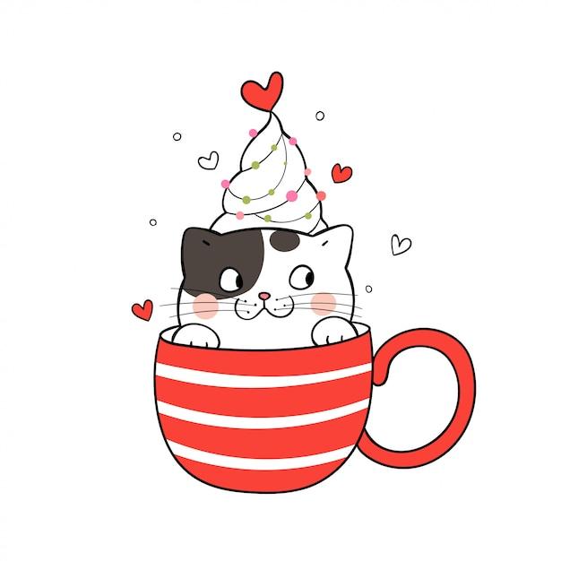 Narysuj ślicznego kota w czerwonej filiżance kawy na boże narodzenie. Premium Wektorów