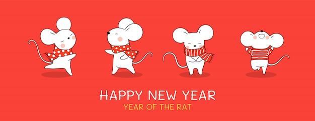 Narysuj szczura banerowego na boże narodzenie i nowy rok. Premium Wektorów
