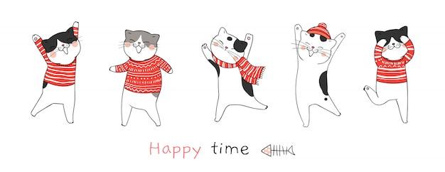 Narysuj taniec kota na boże narodzenie i nowy rok. Premium Wektorów