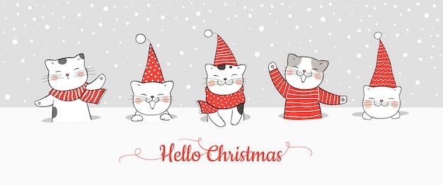 Narysuj Transparent ładny Kot W śniegu Na Boże Narodzenie I Nowy Rok. Premium Wektorów