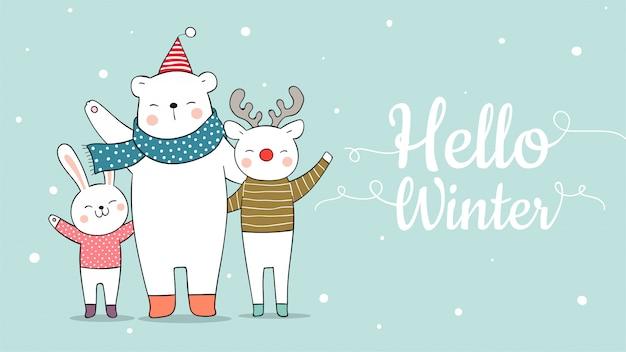 Narysuj Transparent ładny Niedźwiedź Jelenia Zwierząt I Królika Na Boże Narodzenie. Premium Wektorów