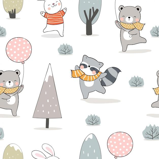 Narysuj Wzór Zwierząt W Lesie Na Zimę. Premium Wektorów
