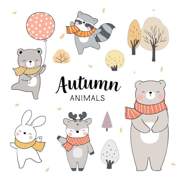 Narysuj Zestaw Zwierząt Na Sezon Jesienny. Koncepcja Lasu. Premium Wektorów