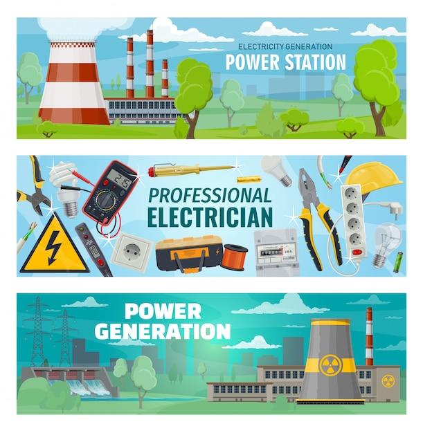 Narzędzia Dla Elektryków, Elektrownie Premium Wektorów