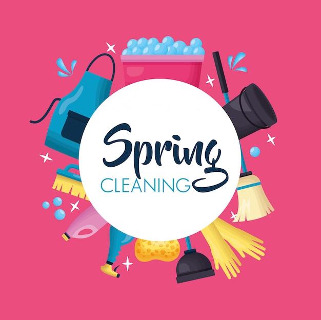Narzędzia do czyszczenia wiosennego Darmowych Wektorów