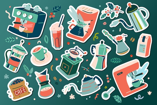 Narzędzia Do Kawy I Naczynia, Naklejki Ilustracji Kawy Premium Wektorów