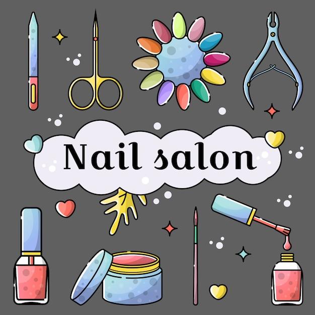 Narzędzia do salonów paznokci i manicure pojedyncze obiekty Premium Wektorów