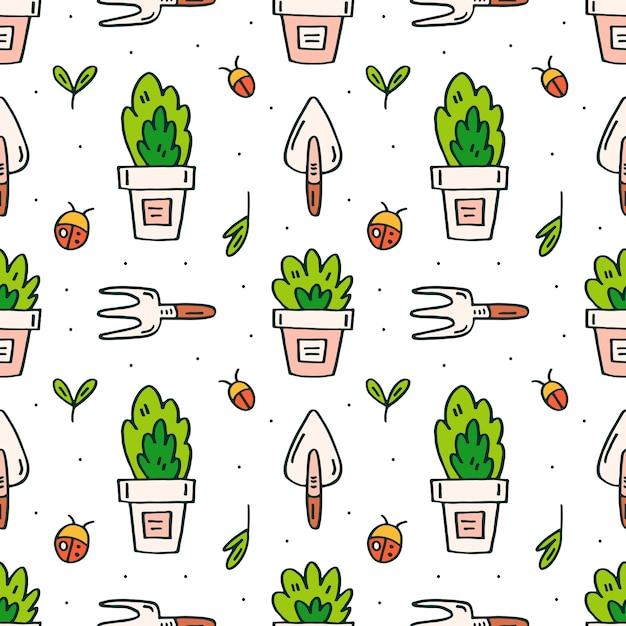 Narzędzia Ogrodnicze, Doniczki I Rośliny Doodle Ręcznie Rysowane Wzór Premium Wektorów
