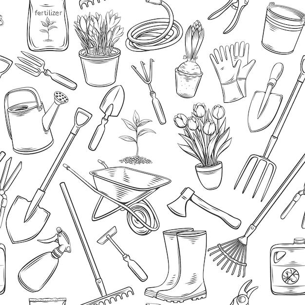 Narzędzia Ogrodnicze I Wzór Kwiaty. Zarys Tła Z Kalosze, Sadzonka, Tulipany, Puszka Ogrodnicza I Nóż. Nawóz Grawerowany, Rękawica, Krokusy, środek Owadobójczy, Taczka Premium Wektorów