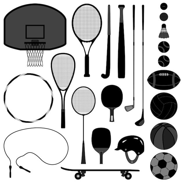 Narzędzia Sportowe Koszykówka Tenis Baseball Siatkówka Piłka Golfowa. Premium Wektorów