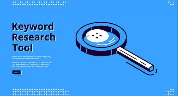 Narzędzie Do Badania Słów Kluczowych Izometryczna Strona Docelowa. Darmowych Wektorów