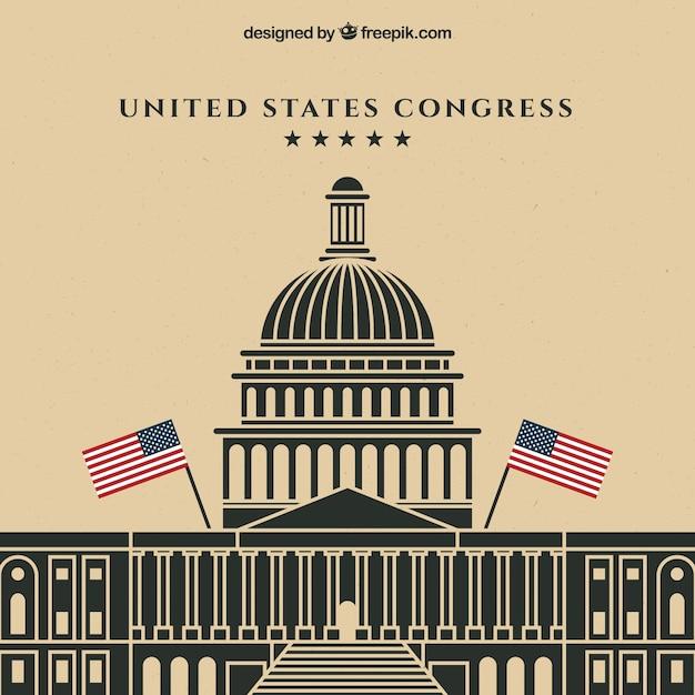 Nas Kongresowy Budynek O Płaskiej Konstrukcji Darmowych Wektorów
