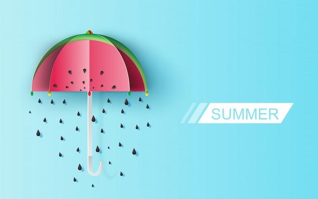 Nasiona deszczu arbuz na niebieskim tle. Premium Wektorów
