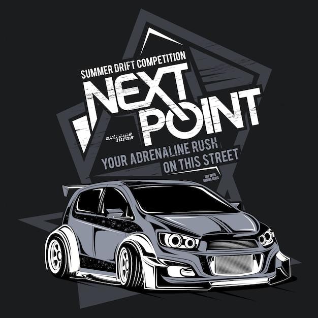 Następny punkt, ilustracja super szybkiego samochodu Premium Wektorów