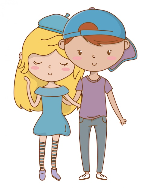 Nastolatek chłopiec i dziewczyna kreskówka Darmowych Wektorów