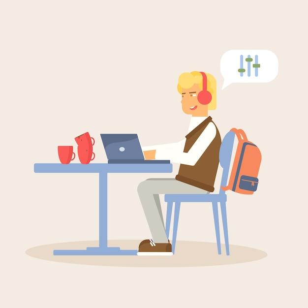 Nastolatek Gra W Grę W Laptopie Premium Wektorów