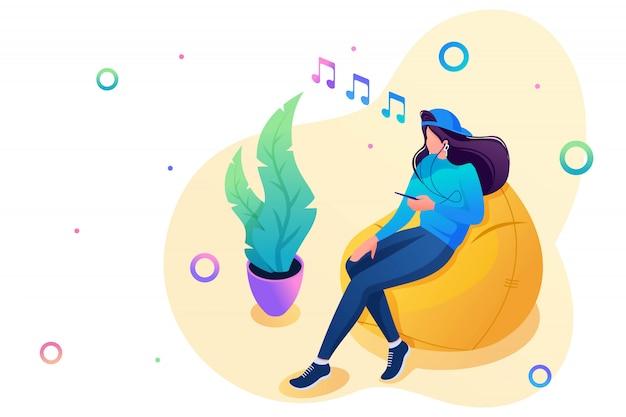 Nastolatka Słucha Muzyki Na Smartfonie I Korzysta Z Sieci Społecznościowej. Pojęcie Wypoczynku Dla Nastolatków. Premium Wektorów