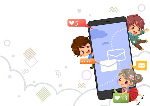 Nastolatki na czacie i urocza ikona na internet, internet tło Premium Wektorów