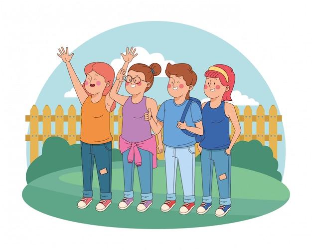 Nastolatki Przyjaciele Uśmiechnięci I Pozdrowienia Premium Wektorów