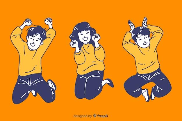 Nastolatki skaczące w koreańskim stylu rysowania Darmowych Wektorów