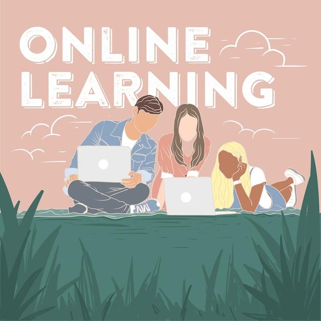 Nastolatki Uczące Się Online Premium Wektorów
