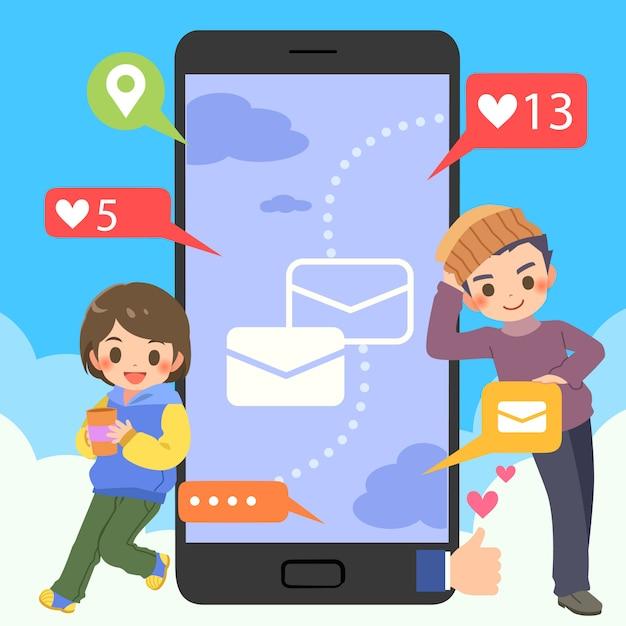 Nastolatki z mobilnym czatem społecznościowym online Premium Wektorów