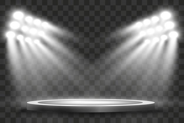 Naświetlacze Stadionowe Jasno Oświetlają Wieczorne Lub Nocne Gry Sportowe, Koncerty, Pokazy, Wydarzenia. Na Przezroczystym Tle. Areny Jasnych Reflektorów. Jasne światła. Podświetlana Scena. Premium Wektorów