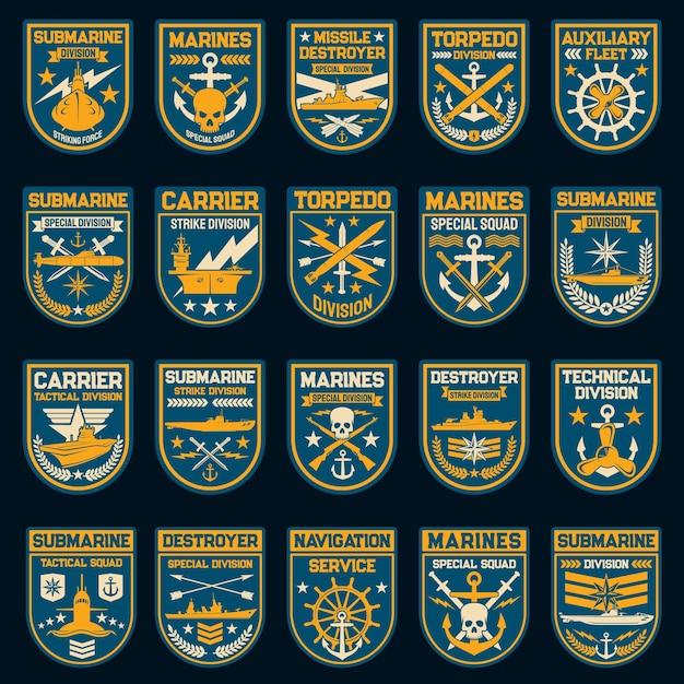 Naszywki I Odznaki Wektorowe Marynarki Wojennej Lub Marynarki Wojennej. Premium Wektorów