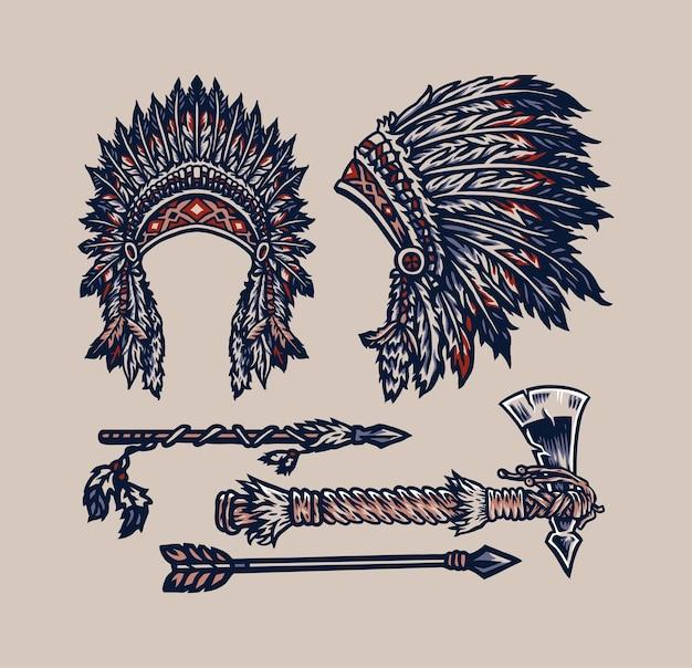 Native American Elementy, Ręcznie Rysowane Styl Linii Z Cyfrowym Kolorem Premium Wektorów