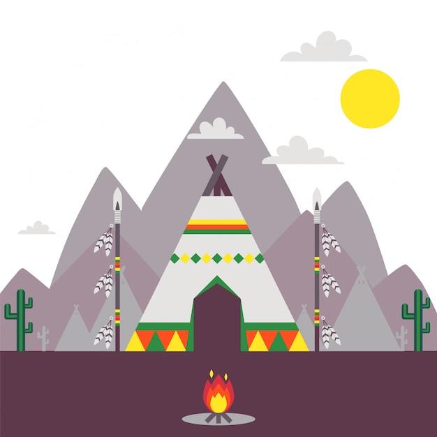 Native American Indian Namiot, Tradycyjna Tipi Ilustracja Premium Wektorów